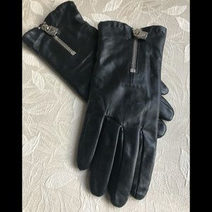 Michael Kors Black Leather Wrist Length Gloves